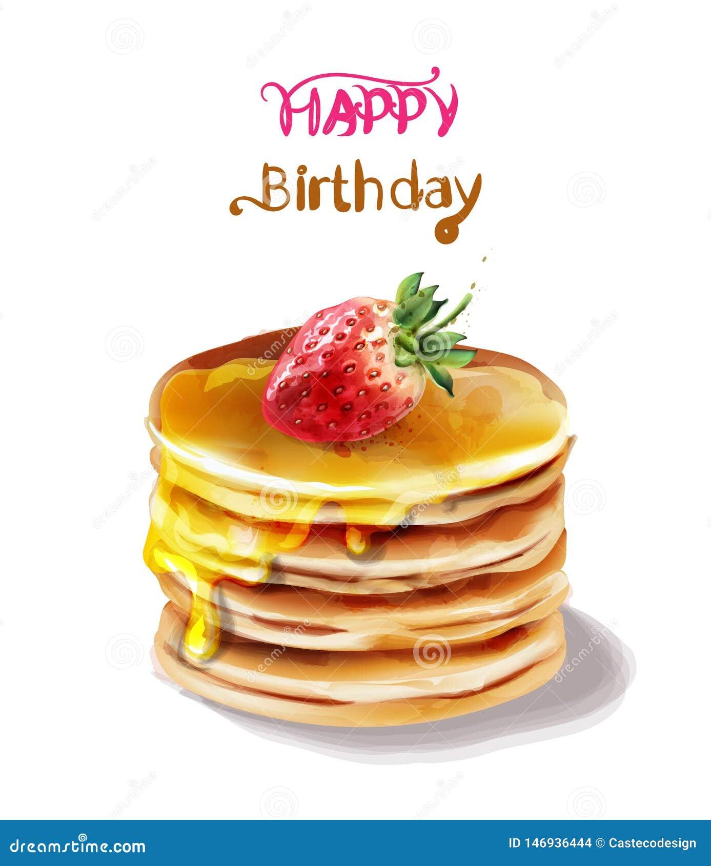 Wszystkiego najlepszego z okazji urodzin torta wektoru akwarela E