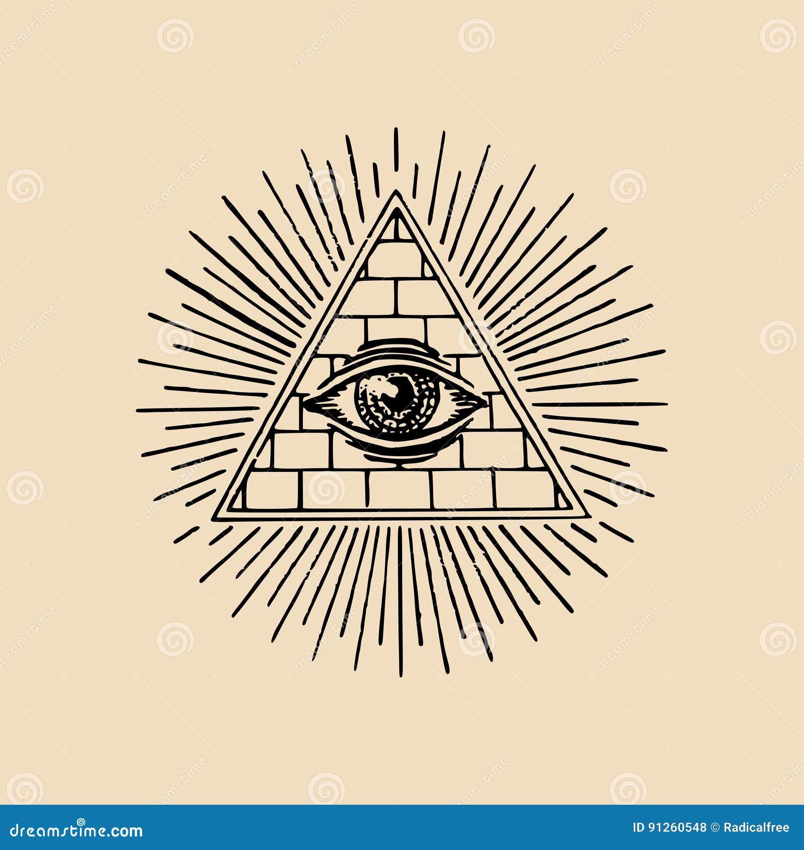 Wszystko przyglądają się widzieć Masońska ostrosłupa wektoru ilustracja Grawerować wolnomularskiego loga, emblemat