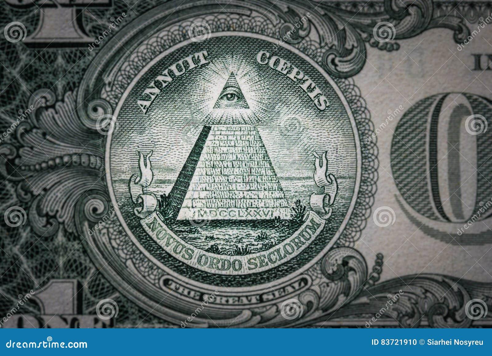 Wszystkowidzący oko na jeden dolarze nowy porządek świata elita charaktery dolar 1