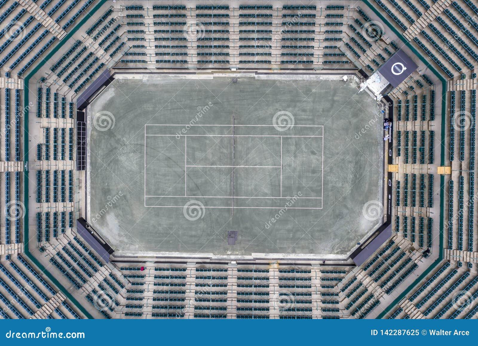 WTA: Opiniones aéreas del 16 de marzo del estadio principal abierto del coche de Volvo