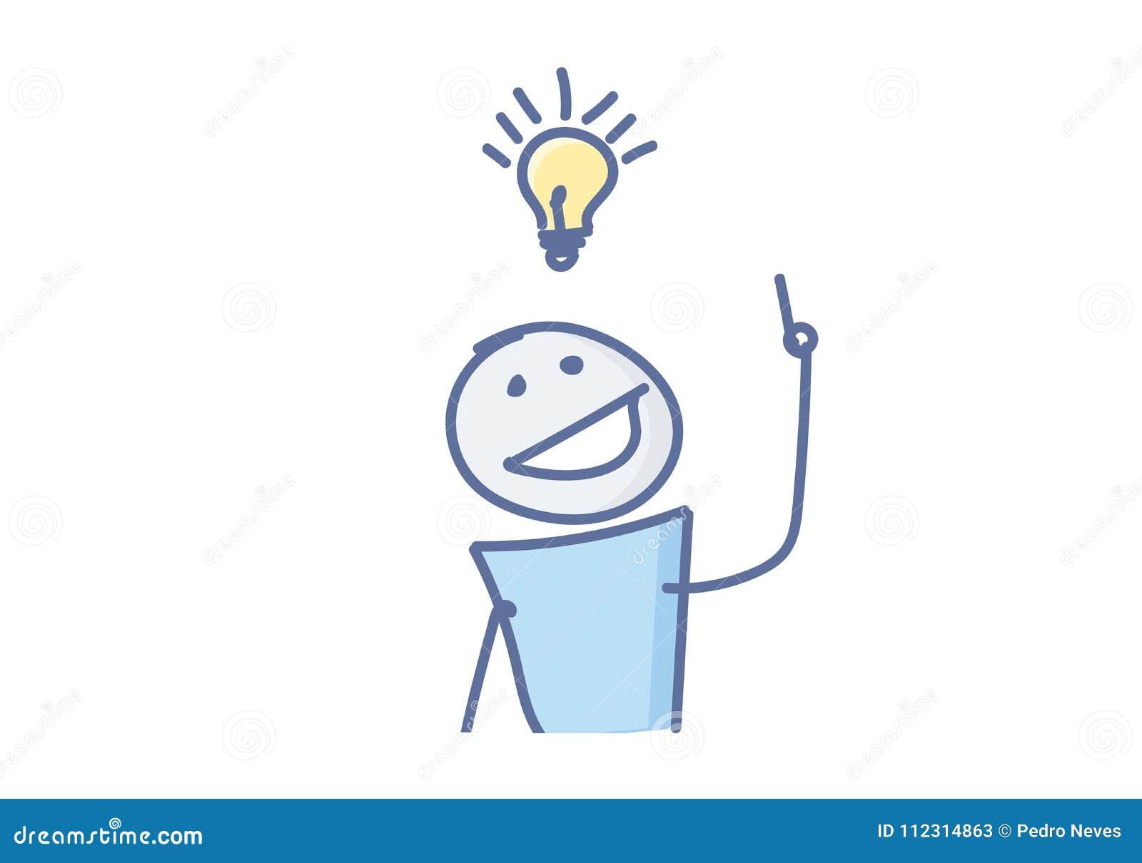 Wtyka postać ma kreatywnie pomysł z żarówką nad jego głową również zwrócić corel ilustracji wektora