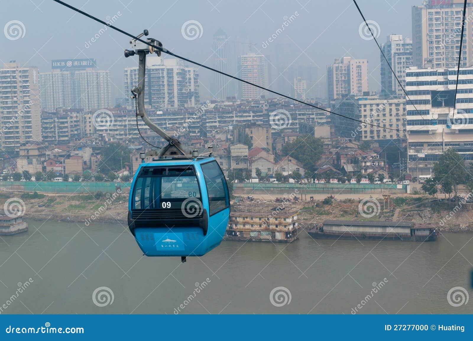 Wuhan stadsplats - kabelbil