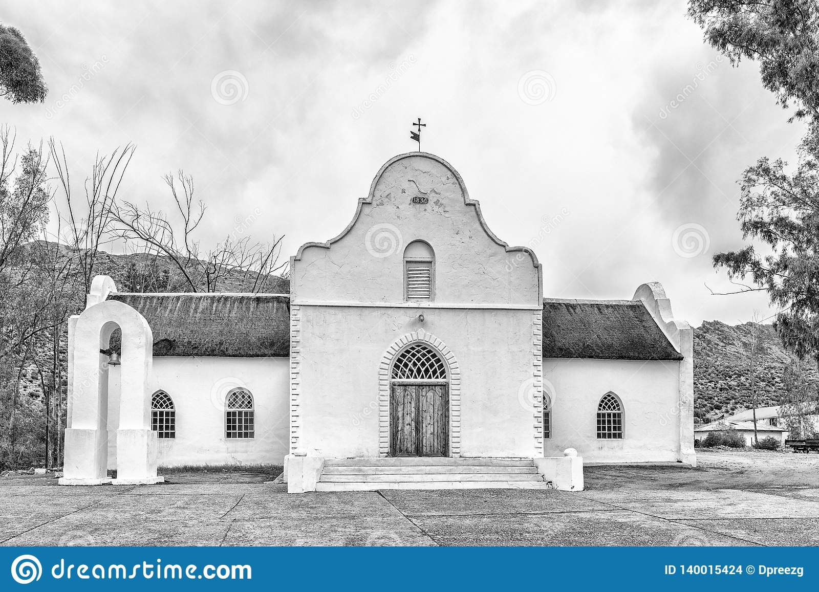 Moravian Church in Wupperthal in the Cederberg Mountains. Monochrome