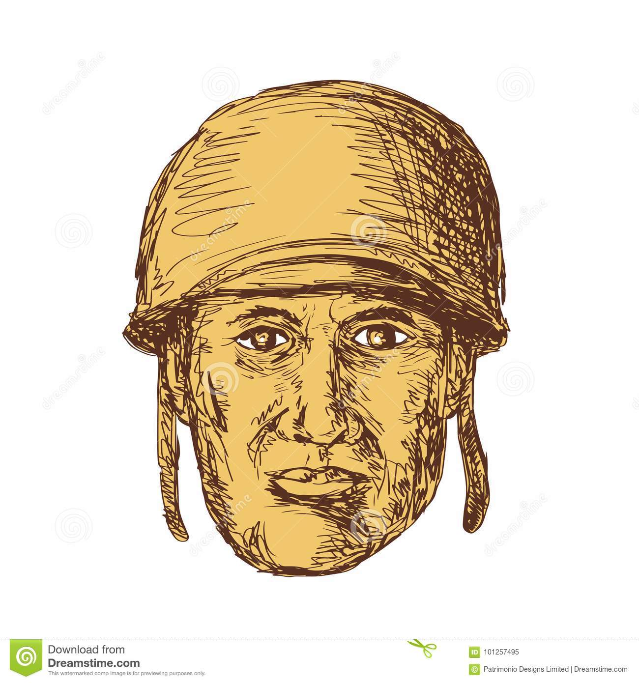 WW2 American Soldier Head Drawing Stock Vector