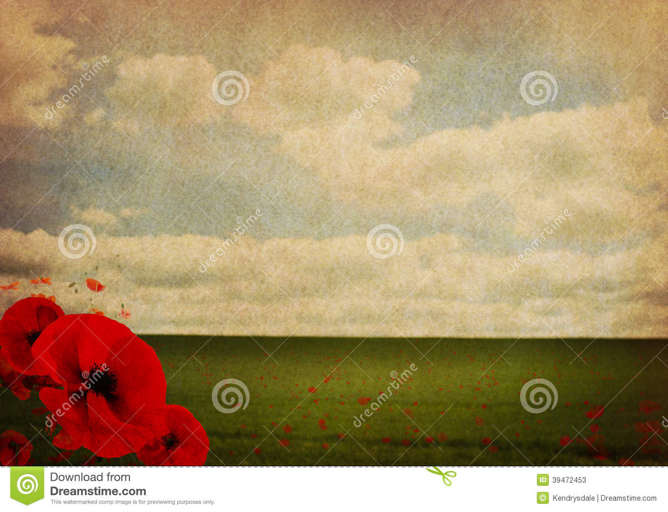 Ww1 First World War Abstract Background With Poppies Stock Image