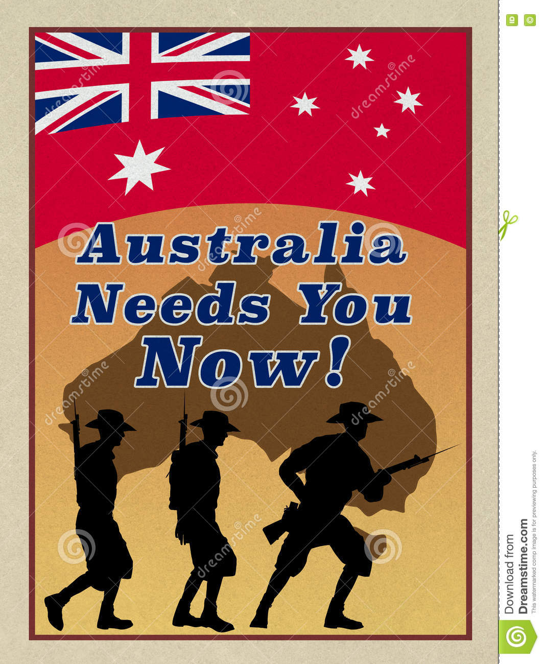 ww1 style anzac recruitment poster stock photography 79370456. Black Bedroom Furniture Sets. Home Design Ideas
