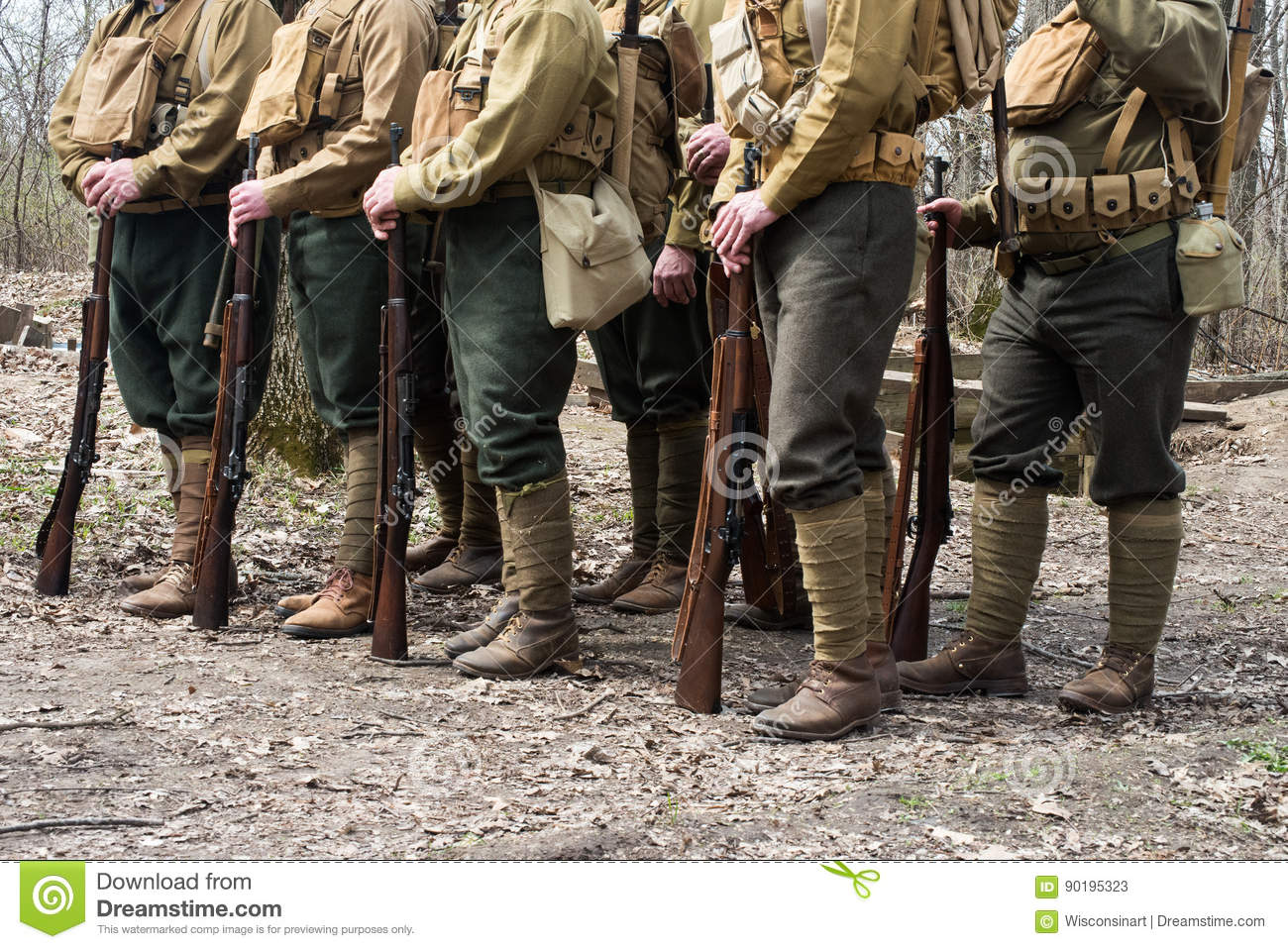 WW1 World War American Soldiers Stock Image - Image of