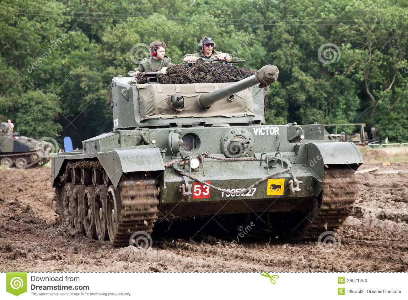 BELTRING, UK - JULY 19: A preserved British Army WW2 Comet tank gives ...