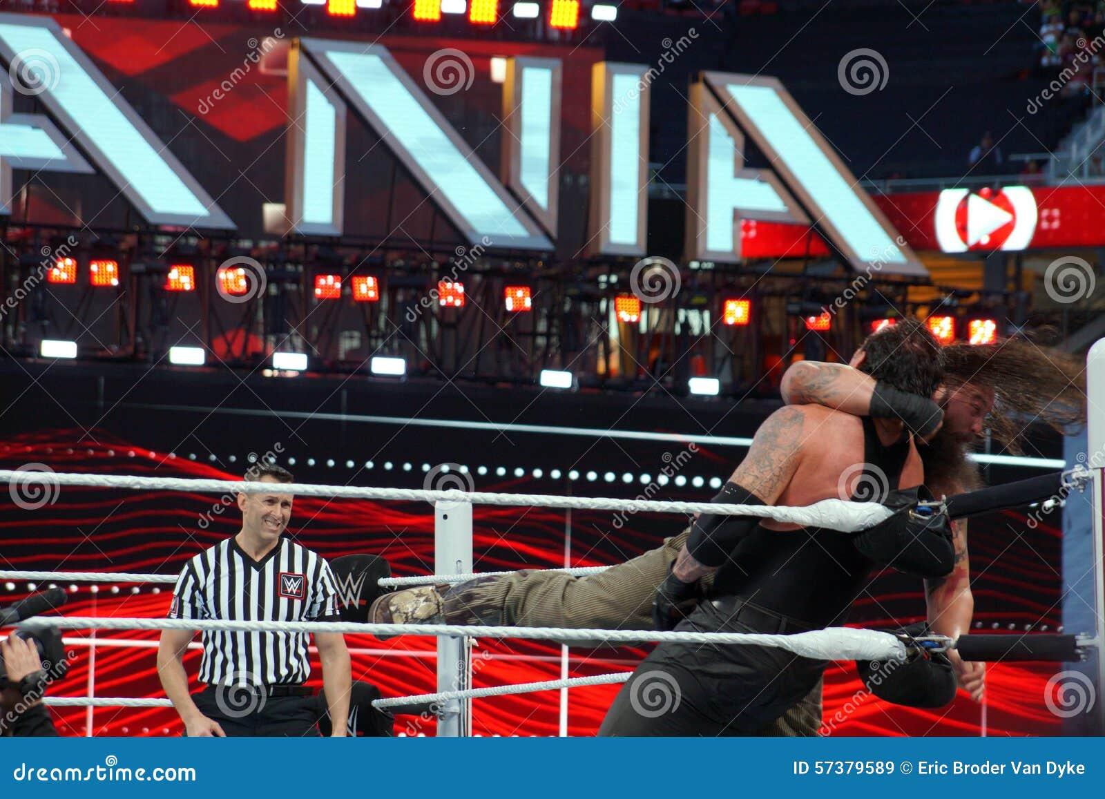 WWE-de drooglijnen van Worstelaarsbray wyatt de Begrafenisondernemer in het graan