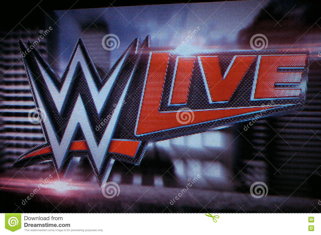 WWE Live logo on screen editorial photo  Image of camera