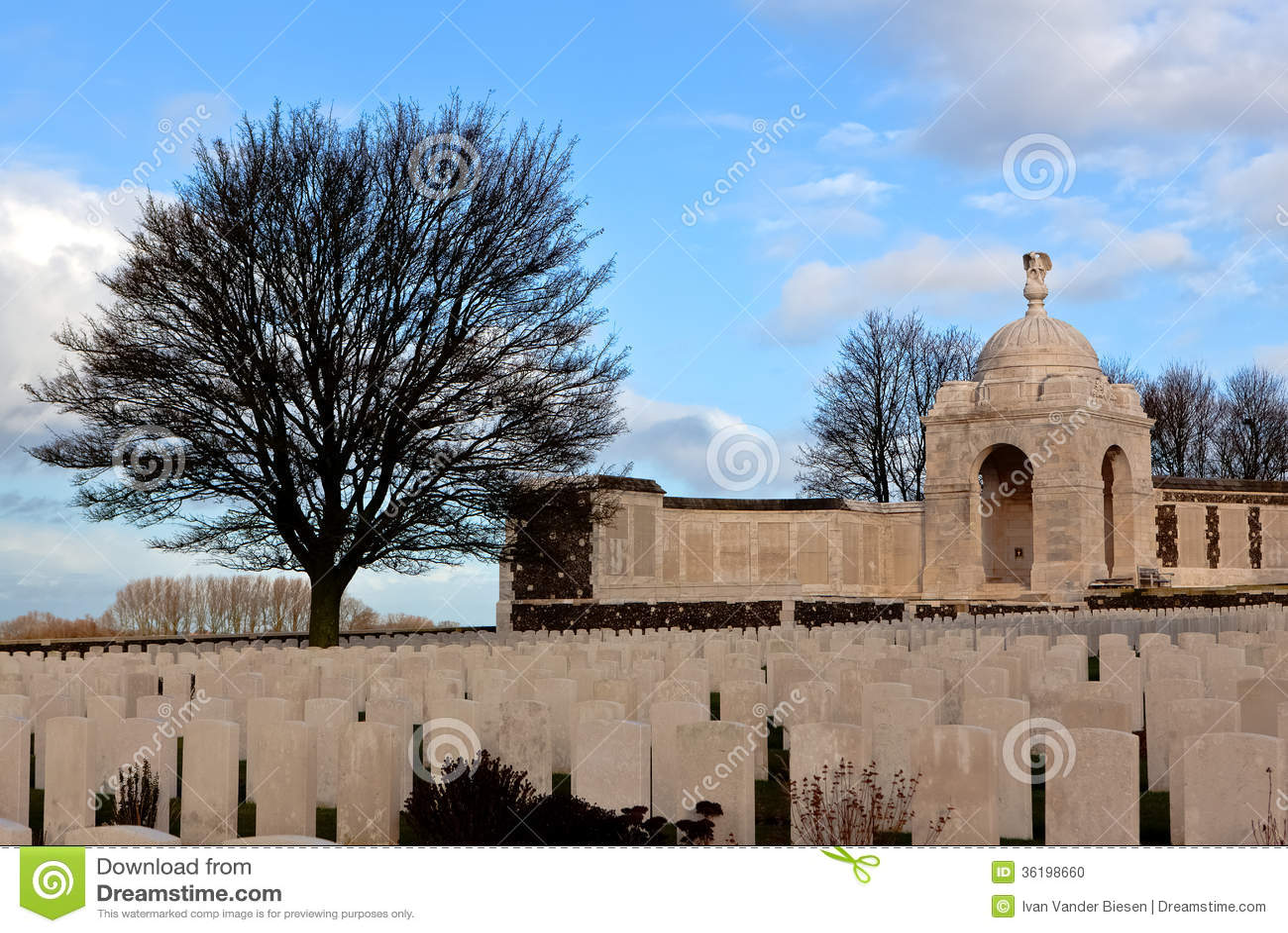 WWI泰恩河富兰德领域的轻便小床公墓,比利时