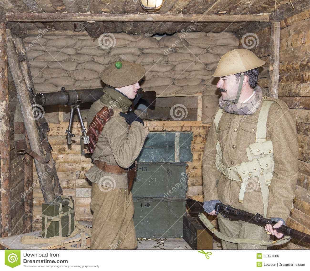 WWI British Army Soldiers Stand At A Machine Gun Bunker