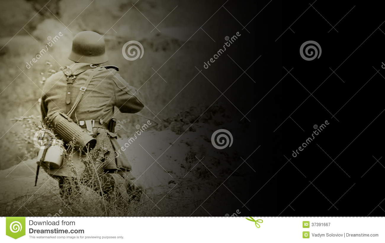 WWII German Soldier Shooting With A Rifle With Black Background