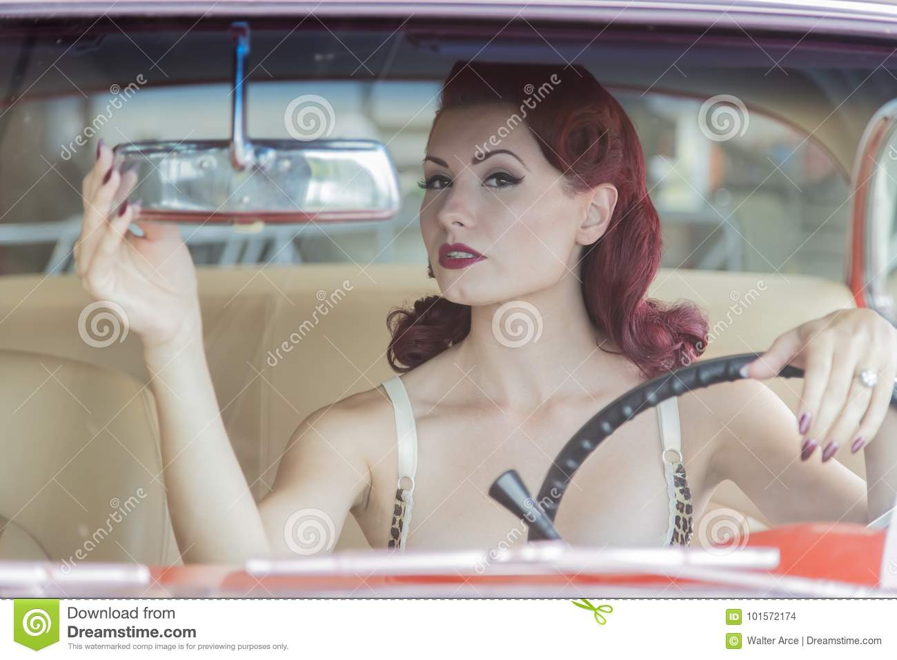 WWII Pinup Model And Muscle Car