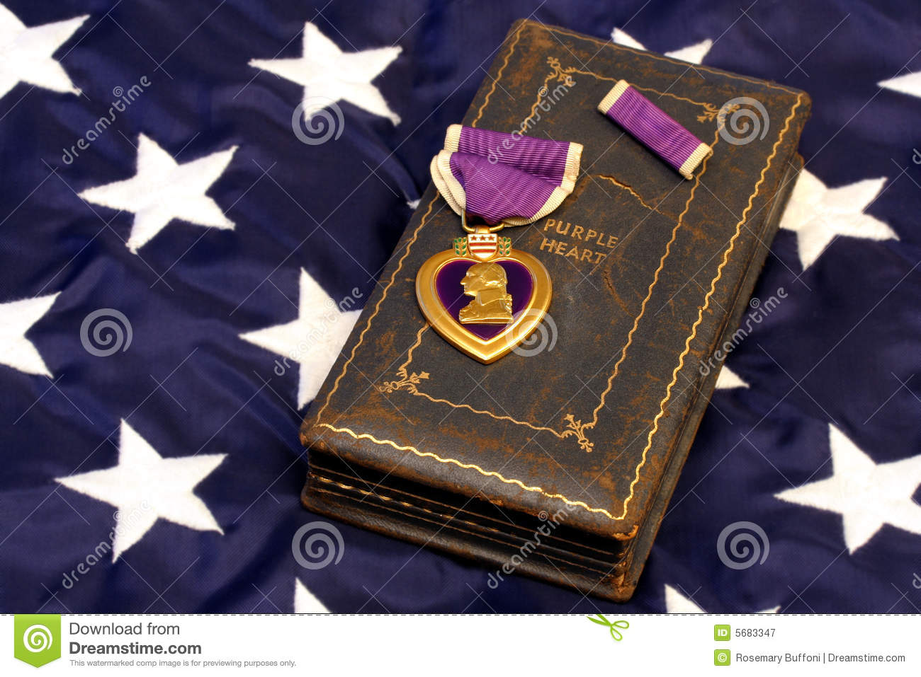 wwii purple heart on american flag royalty free stock