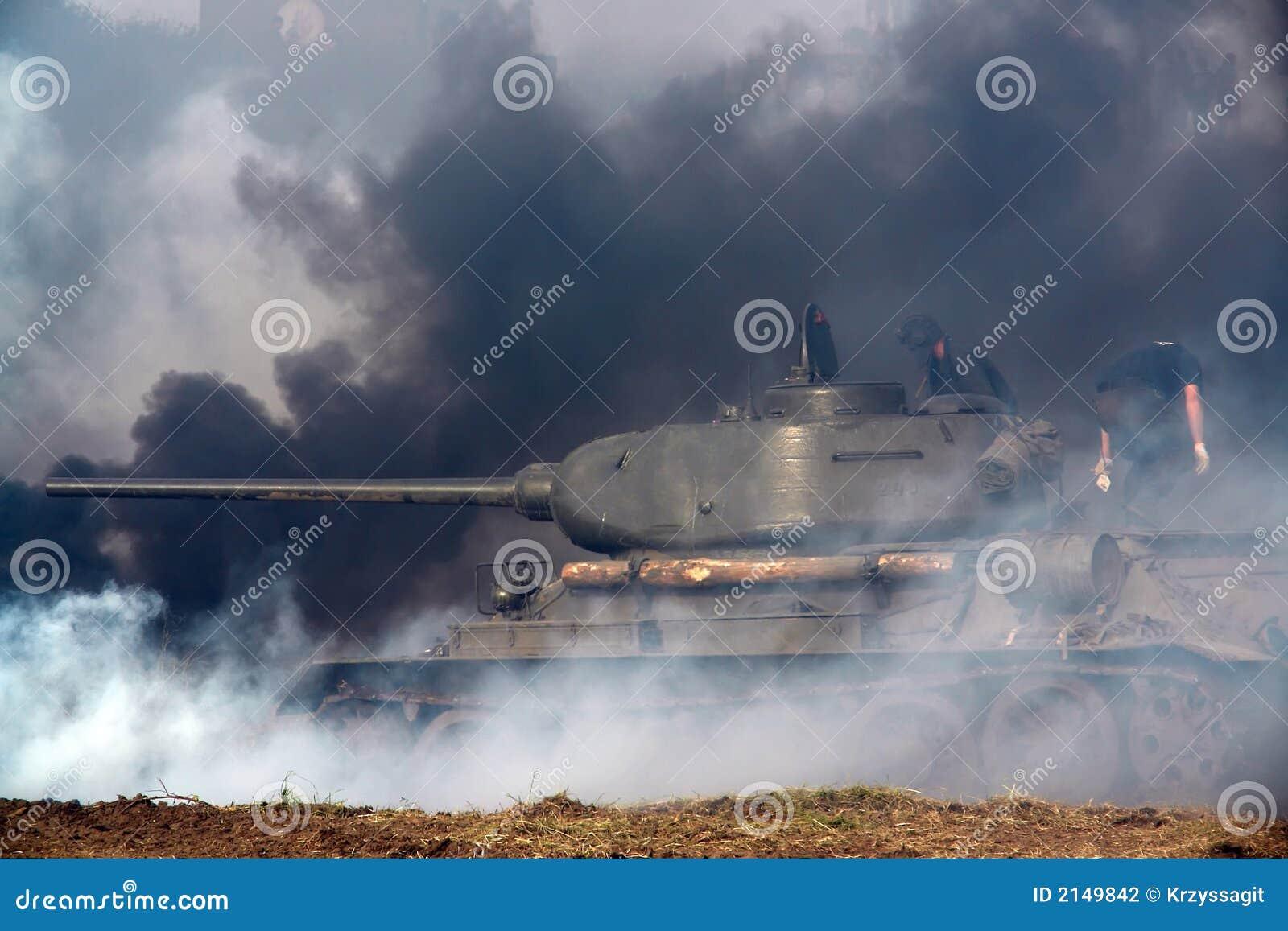 WWII tank, some smoke.