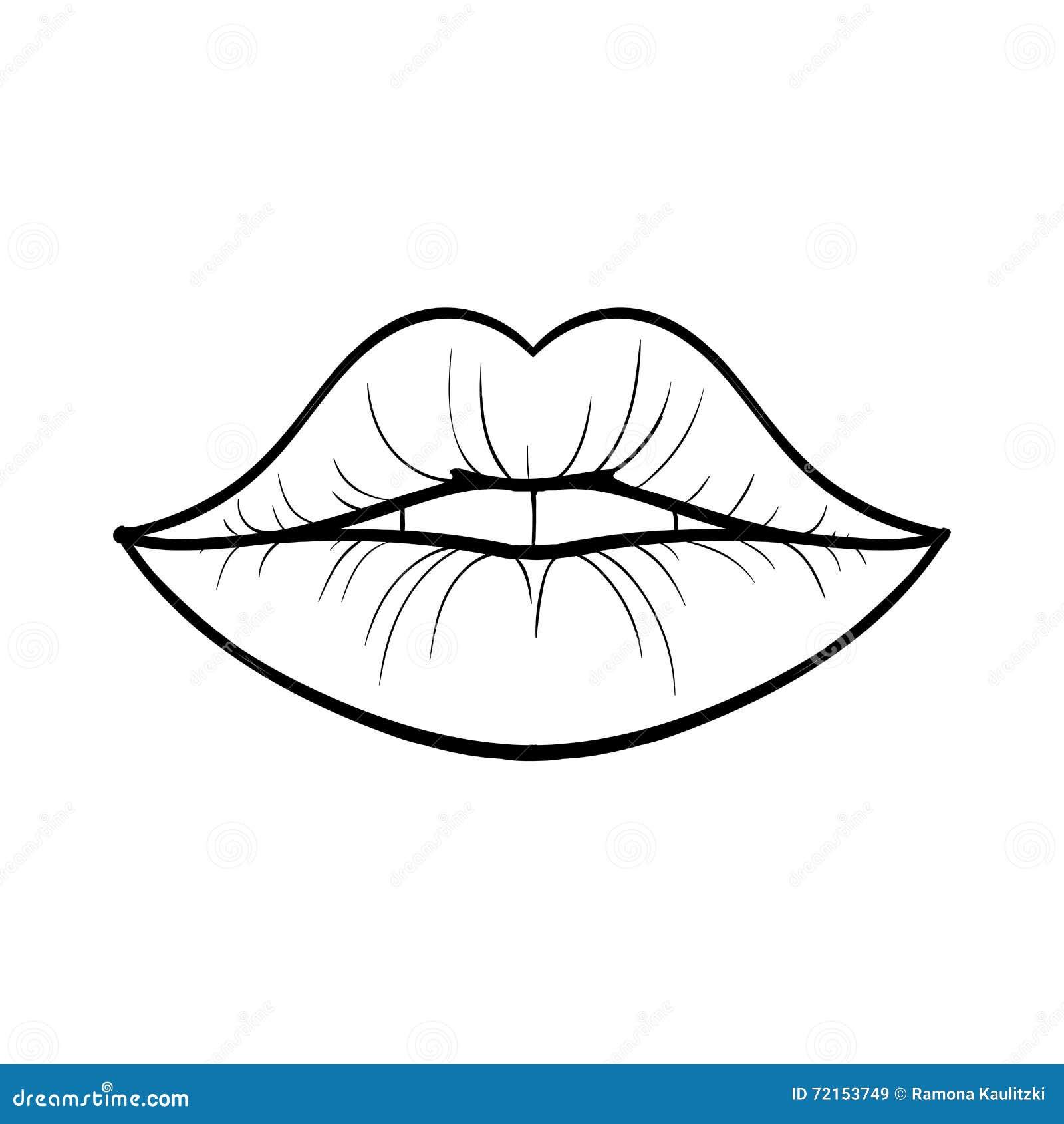 Line Art Lips : Wwoman lips stock illustration of kiss
