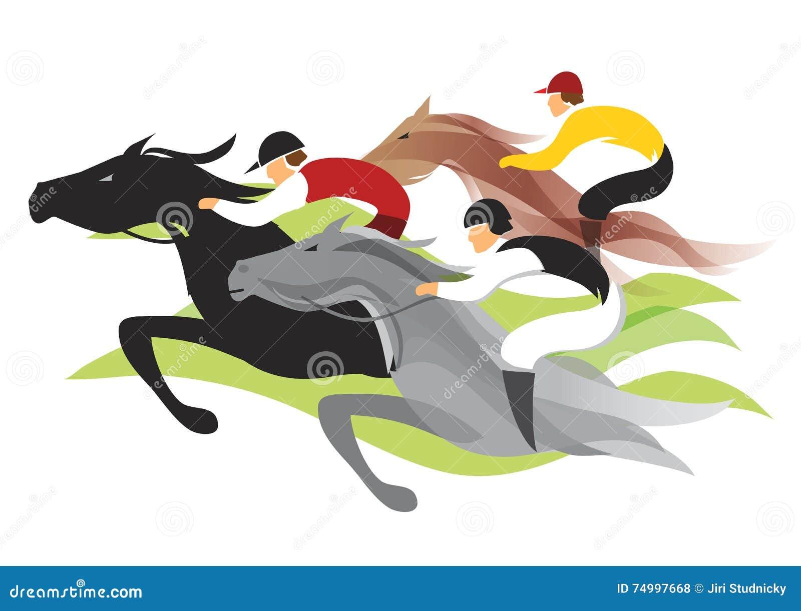 Wyścig koni przewodów konia trzy zaokrągla się