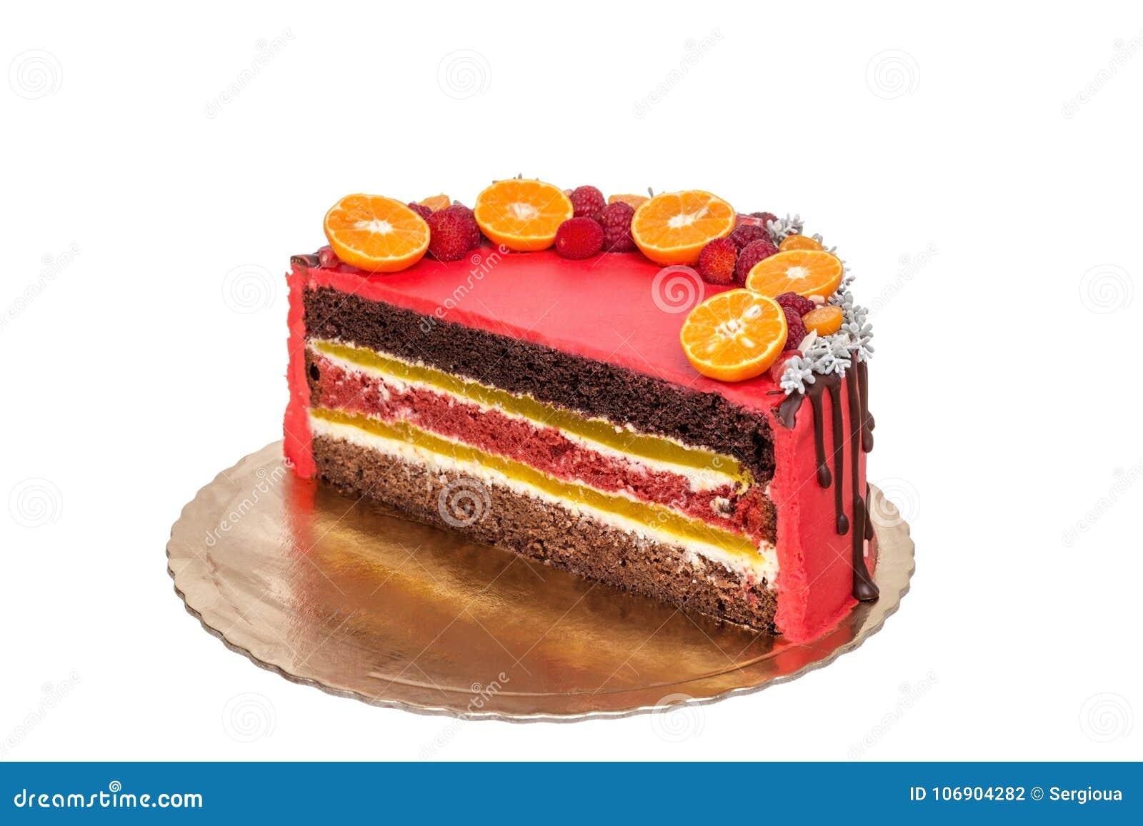 Wyśmienicie czerwona owoc i czekoladowy tort w cięciu