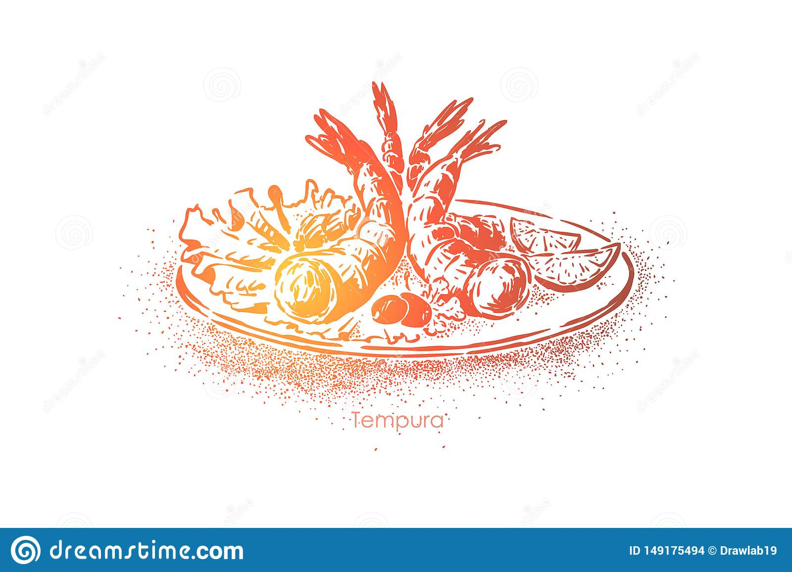 Wyśmienicie tempura naczynie, garnele gotować w cieście naleśnikowym i smażyć w głębokim sadle, smakowita zakąska, wschodni kucha