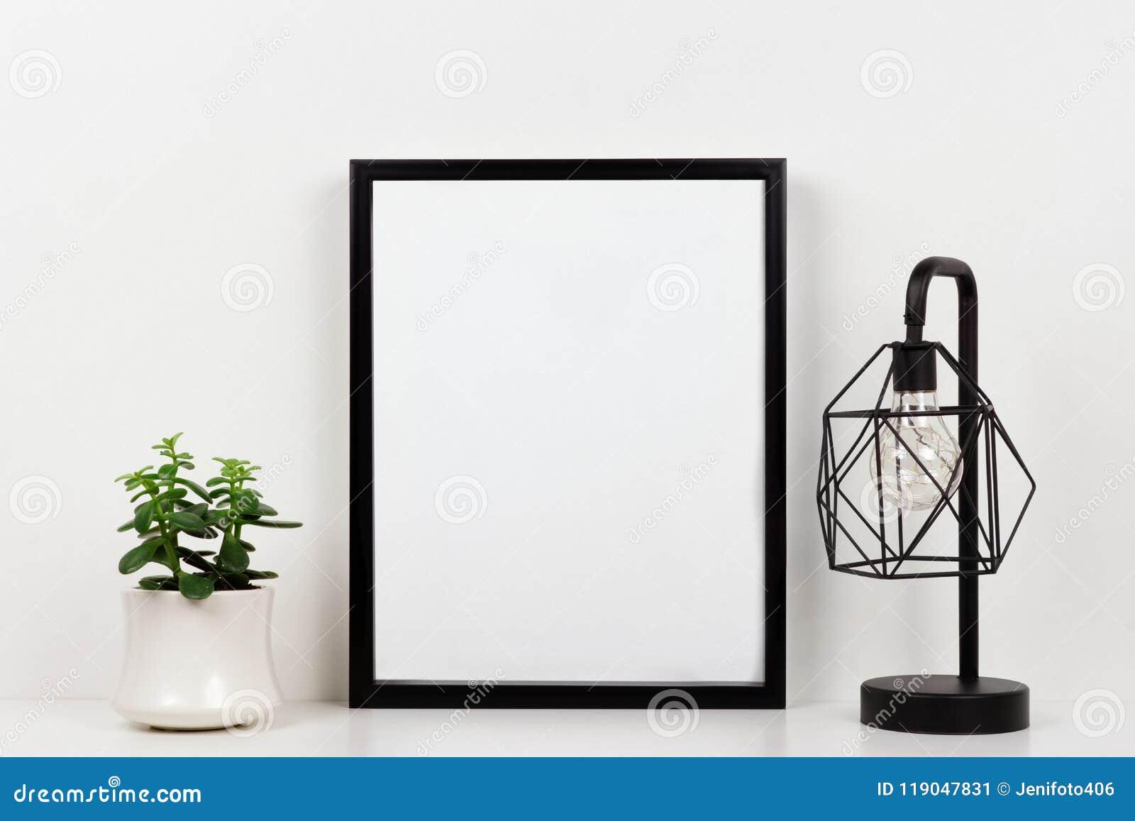 Wyśmiewa w górę czerni ramy przeciw biel ścianie z tłustoszowatą rośliną i lampą na białej półce