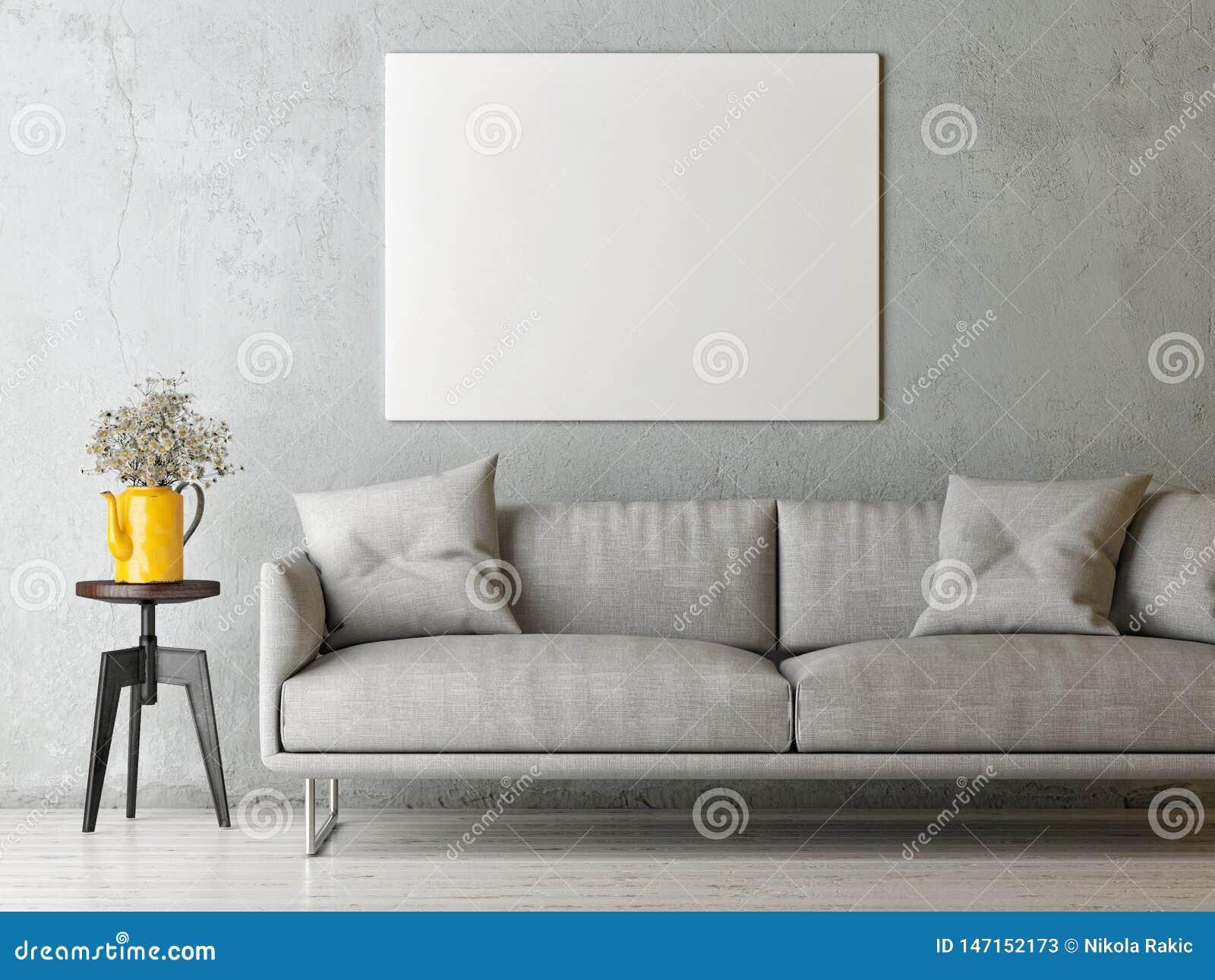 Wyśmiewa w górę plakata w minimalizmu pojęcia Żywym pokoju, Skandynawski projekt