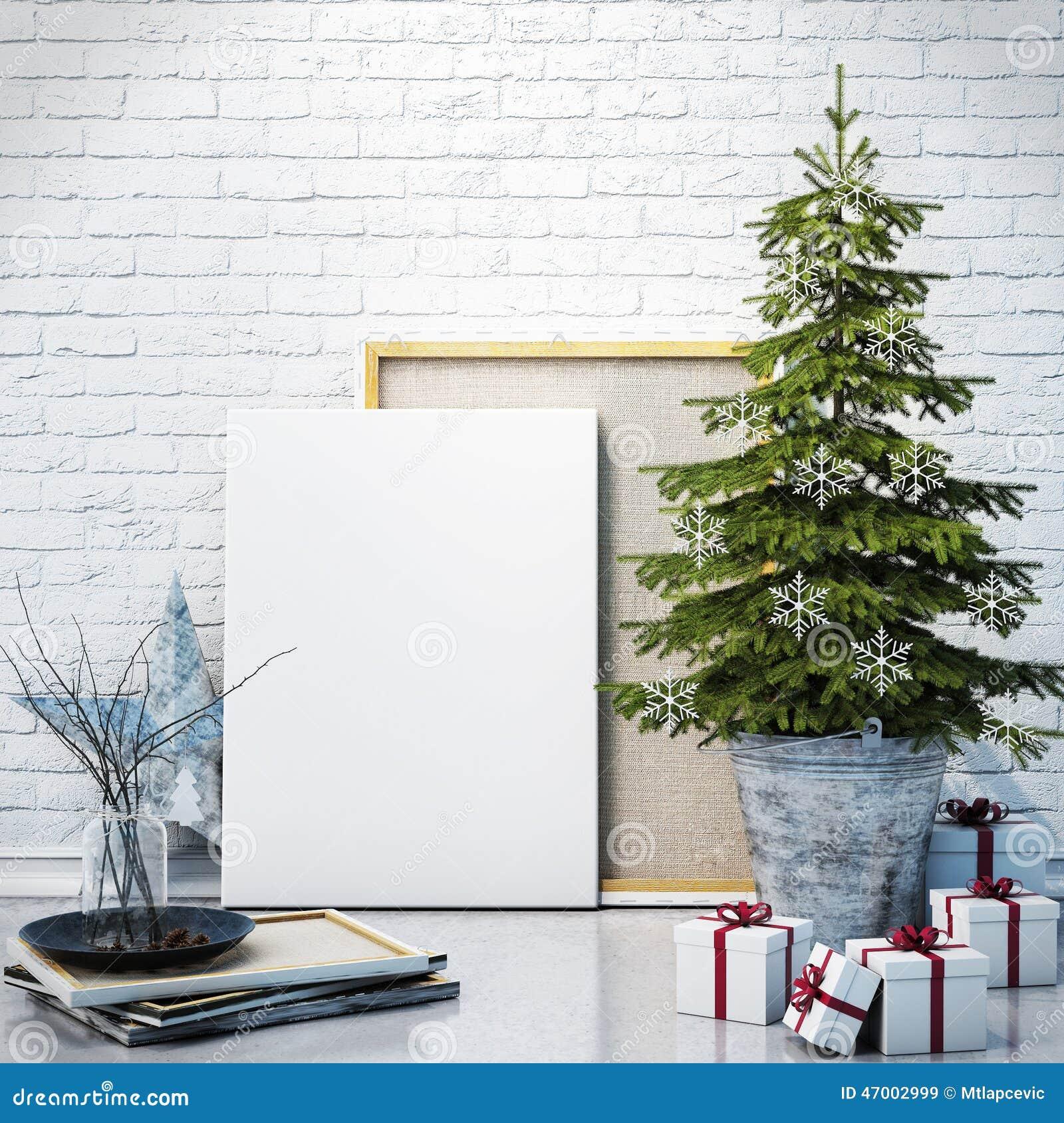 Wyśmiewa w górę plakata na białym ściana z cegieł z christamas dekoracją, tło
