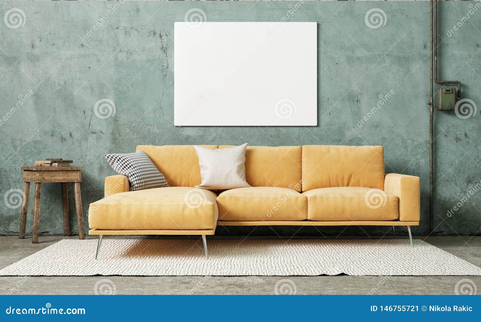 Wyśmiewa w górę plakata w rocznika pokoju, pomarańczowa kanapa z retro tynk ścianą