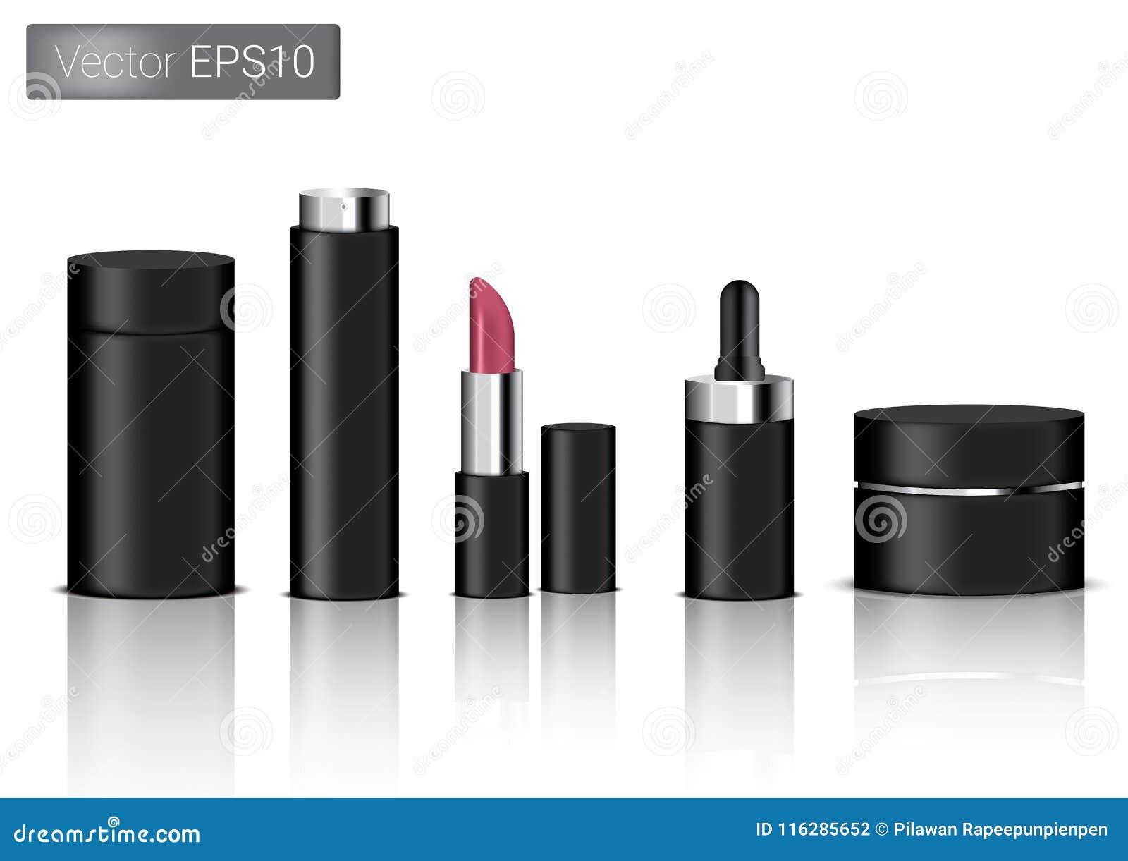 Wyśmiewa w górę Realistycznego Czarnego Pakuje produktu Dla Kosmetycznej piękno butelki, kiść, pomadka I wkraplacz lub pipeta Dla