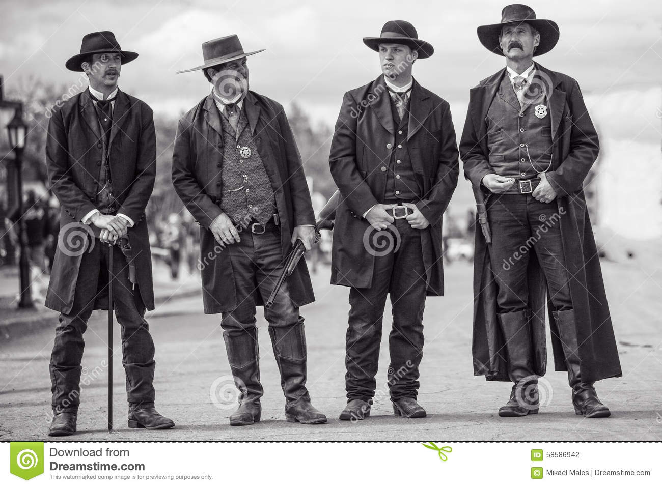 Wyatt Earp and brothers in Tombstone Arizona during wild west show