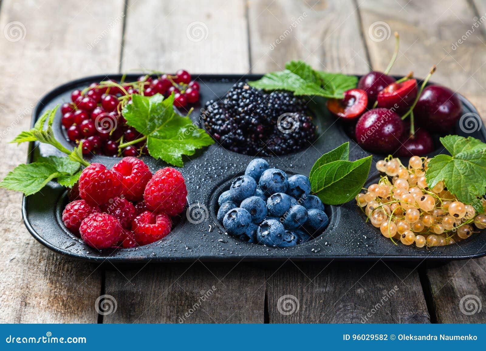 Wybór jagody w babeczki formie - zdrowy deserowy pojęcie