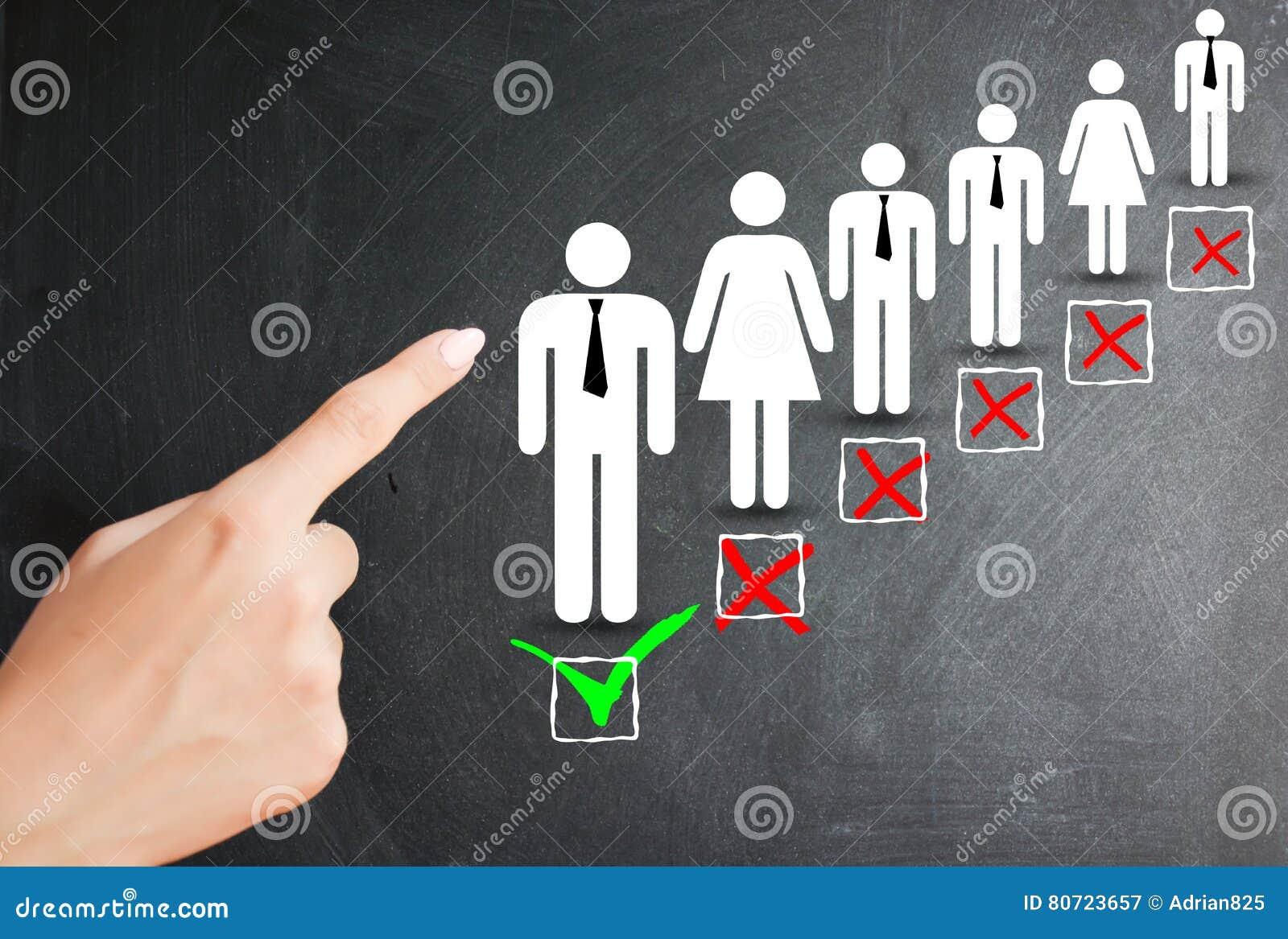 Wybiera kandydata, działów zasobów ludzkich i zatrudnieniowego pojęcia,