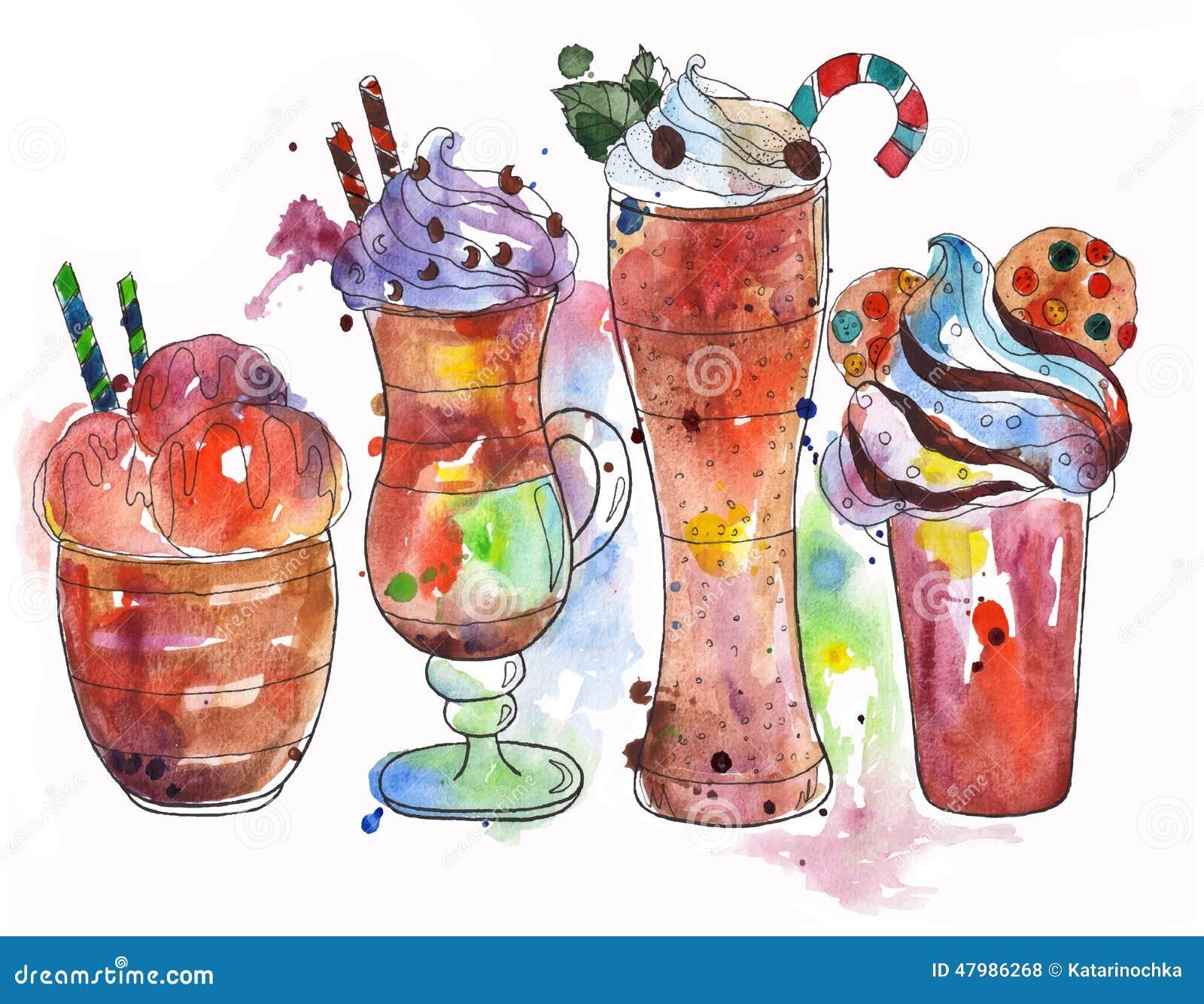 Wyborów gorący napoje: coffe lody, latte, frappe, czekolada