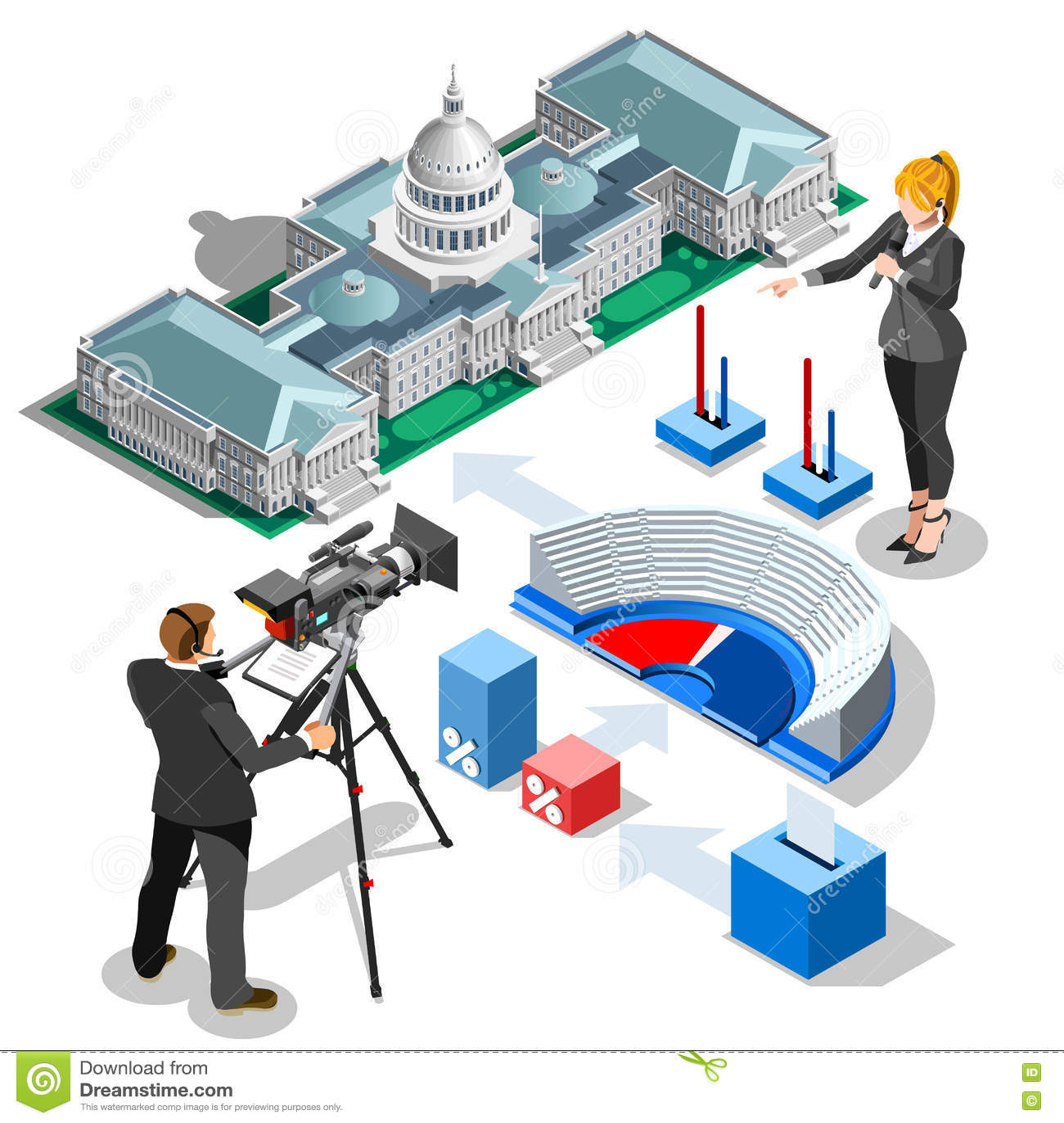 Wybory Infographic My Capitol Wektorowy Isometric budynek