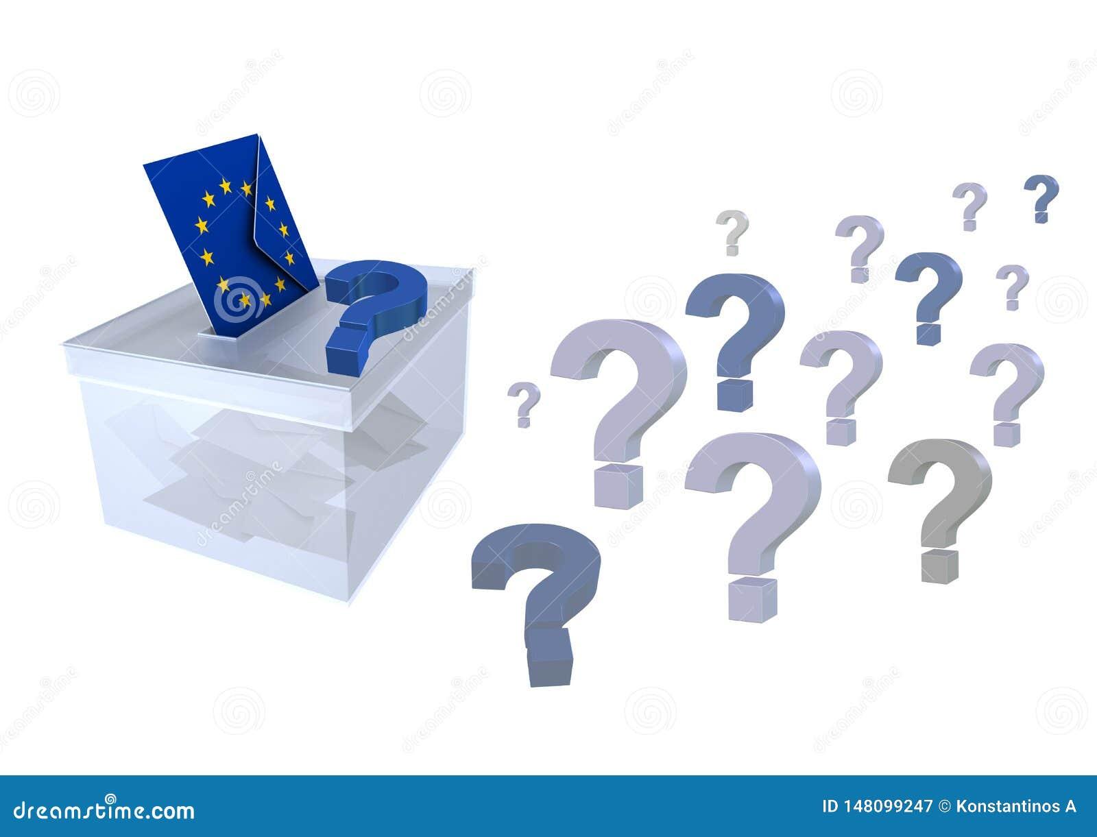 Wybory w unii europejskiej znak zapytania kopercie z europejczyk flagą i tajnym głosowaniu głosują dla eu parlamentu - 3d renderi
