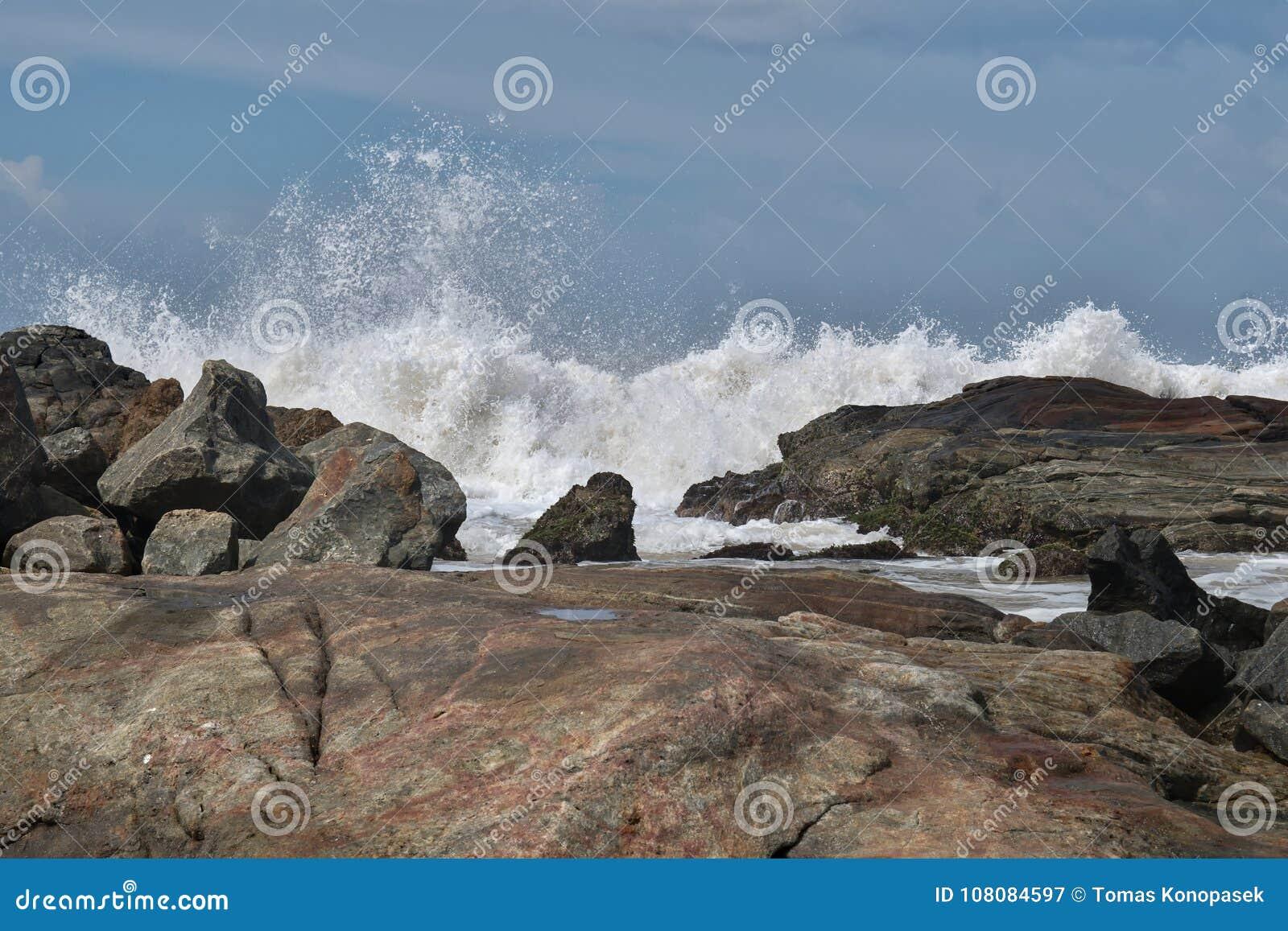 Wybrzeże ocean indyjski w Sri Lanka