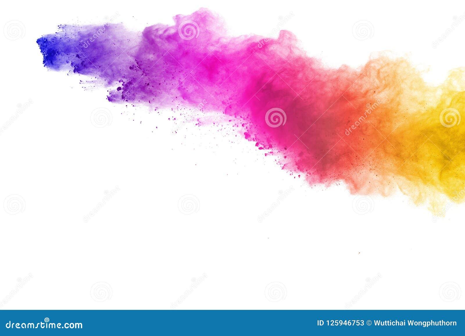 Wybuch barwiony proszek, odosobniony na białym tle Abstrakt splatted barwiony pył kolor chmura
