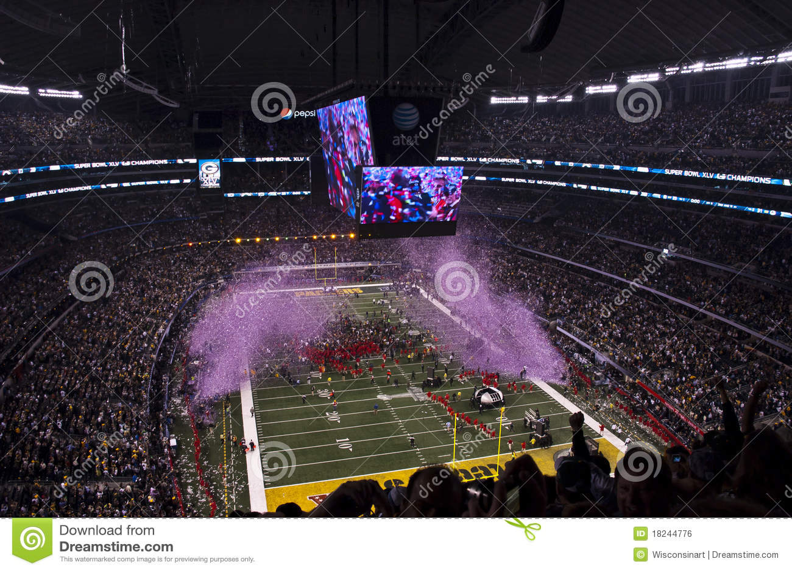 Wybuch wstawia się confetti futbolowego nfl superbowl