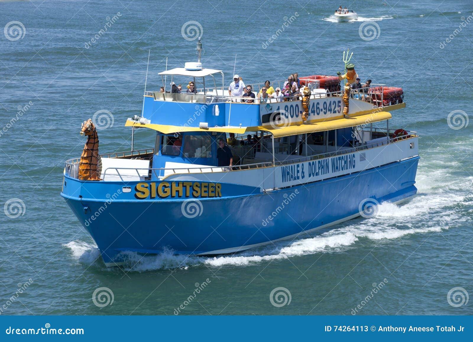 Wycieczkowiczka bierze s grupy turysta na wielorybim zegarku i delfinie