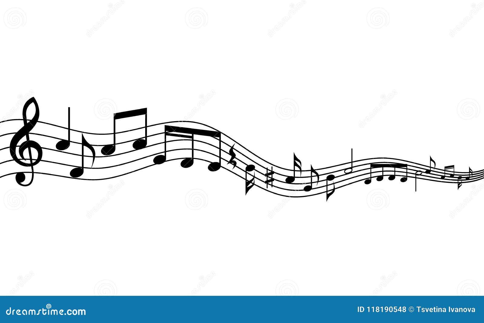 Wyginająca się muzyka pięcioliniowa i notatki tło Falowanie musical pięcioliniowy i notatki tło