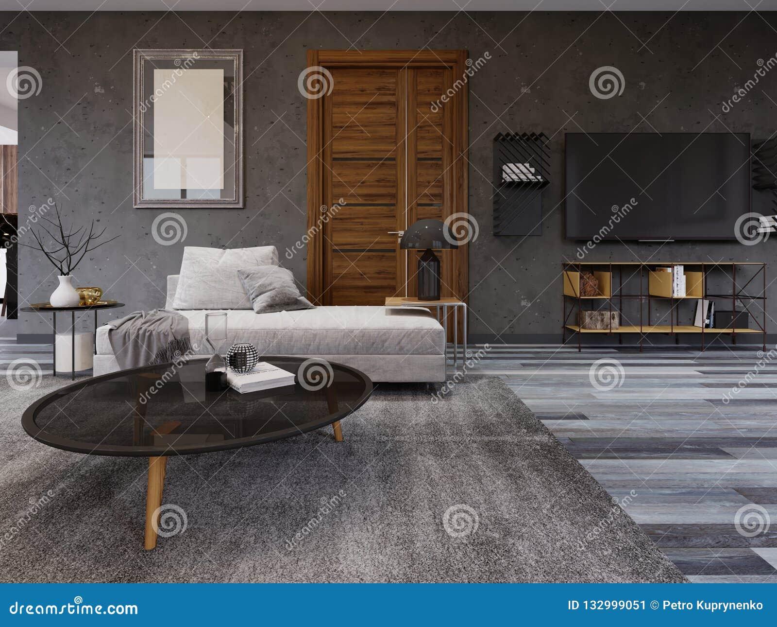 Wygodny hol w stylu loft z TV stojakiem, obrazek na ścianie i kanapa z magazynu stołem,