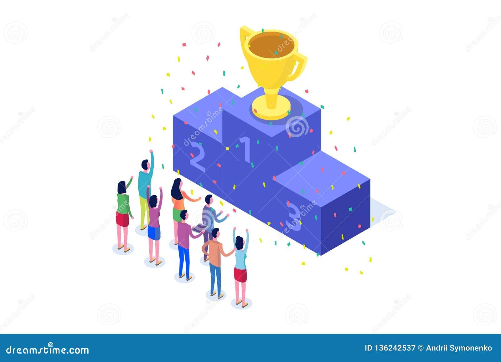 Wygrywa, Isometric zwycięzcy biznes, sukces i osiągnięcia pojęcie,