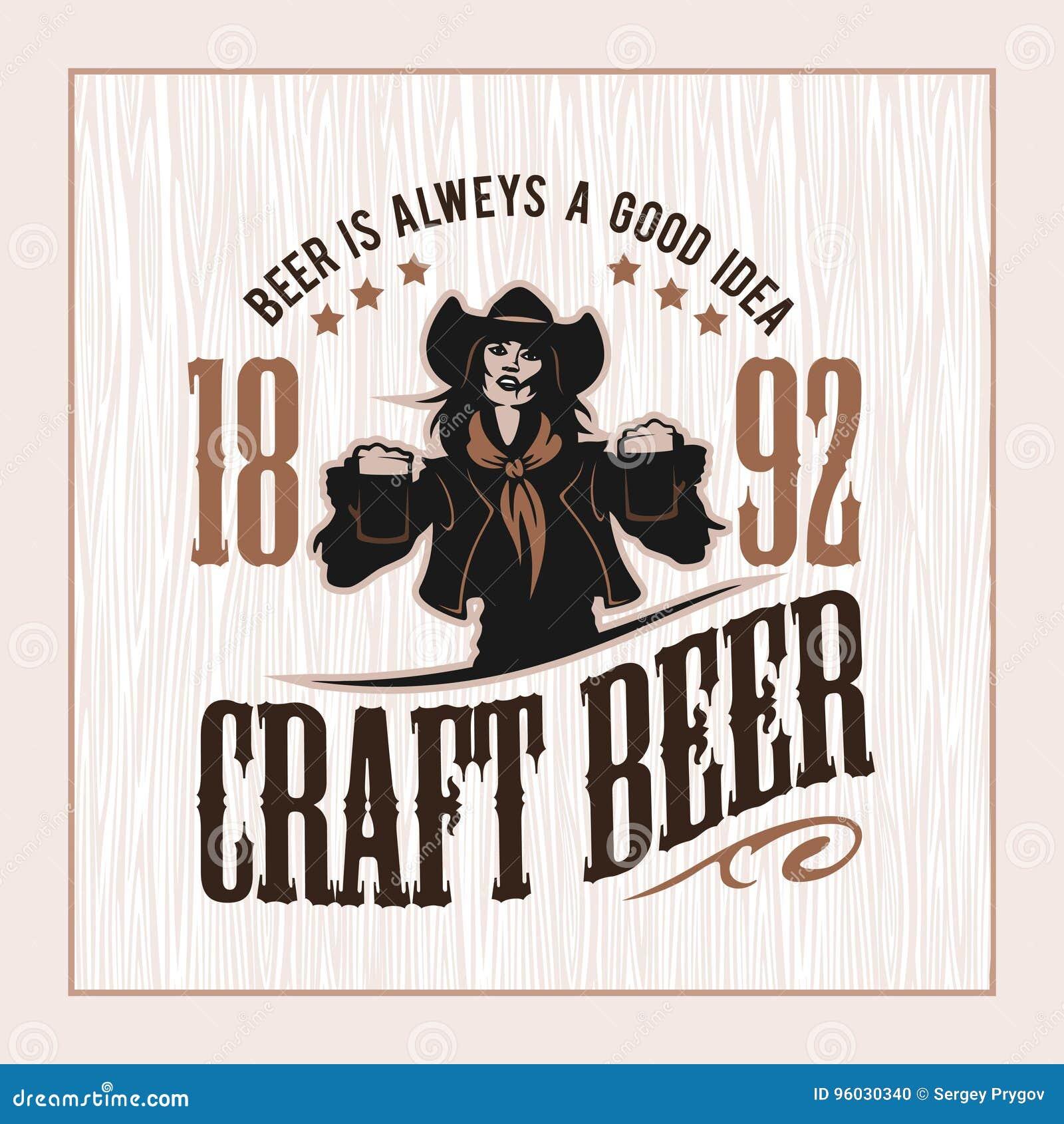 Wykonuje ręcznie piwa i dziewczyny loga wektorową ilustrację, emblemata browaru projekt