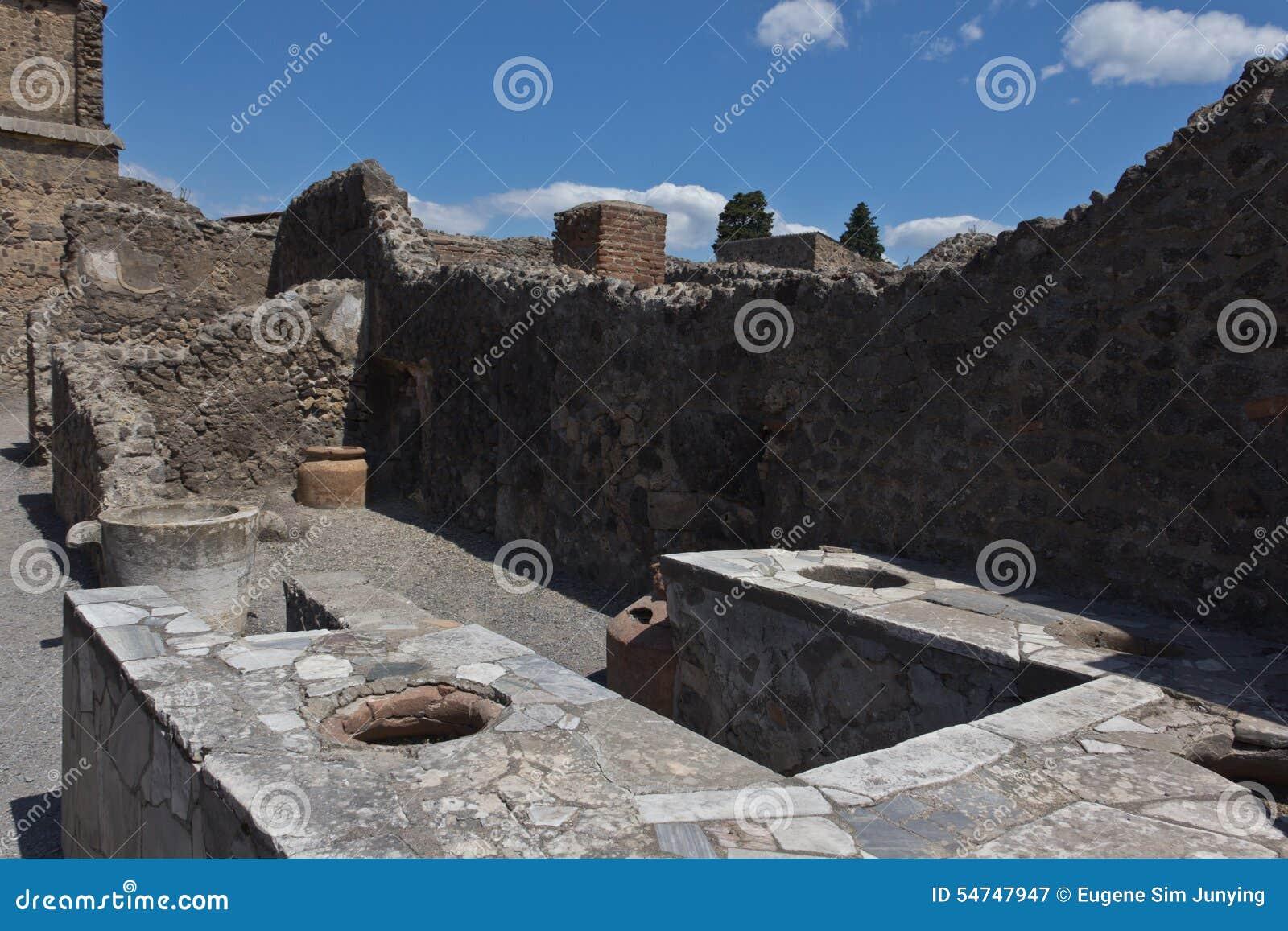 Wykopywane ruiny stoiskowy sprzedawanie gotowali jedzenie w Pompeii