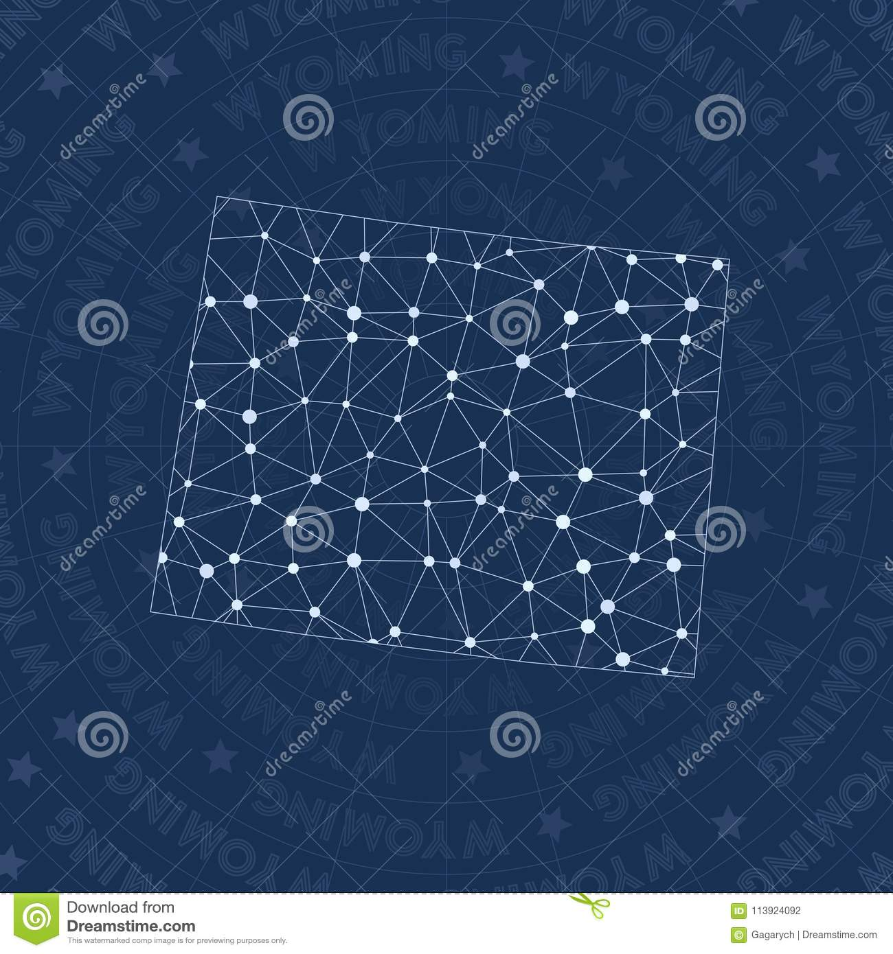 Wyoming Network, Constellation Style Us State Map  Stock