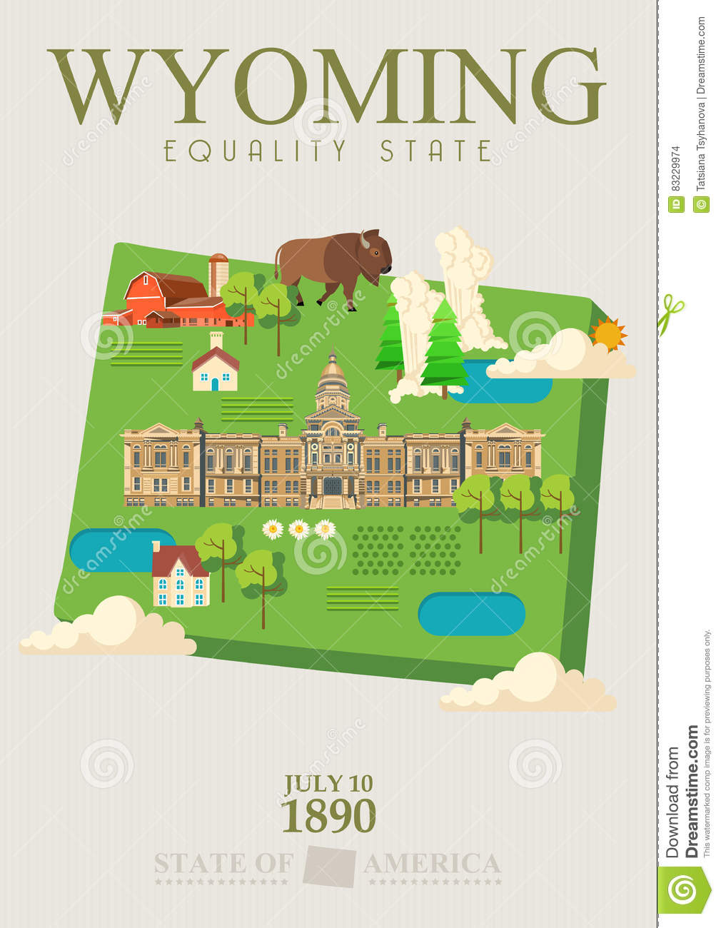 Wyoming Vector American Poster With Green Map. USA Travel ...