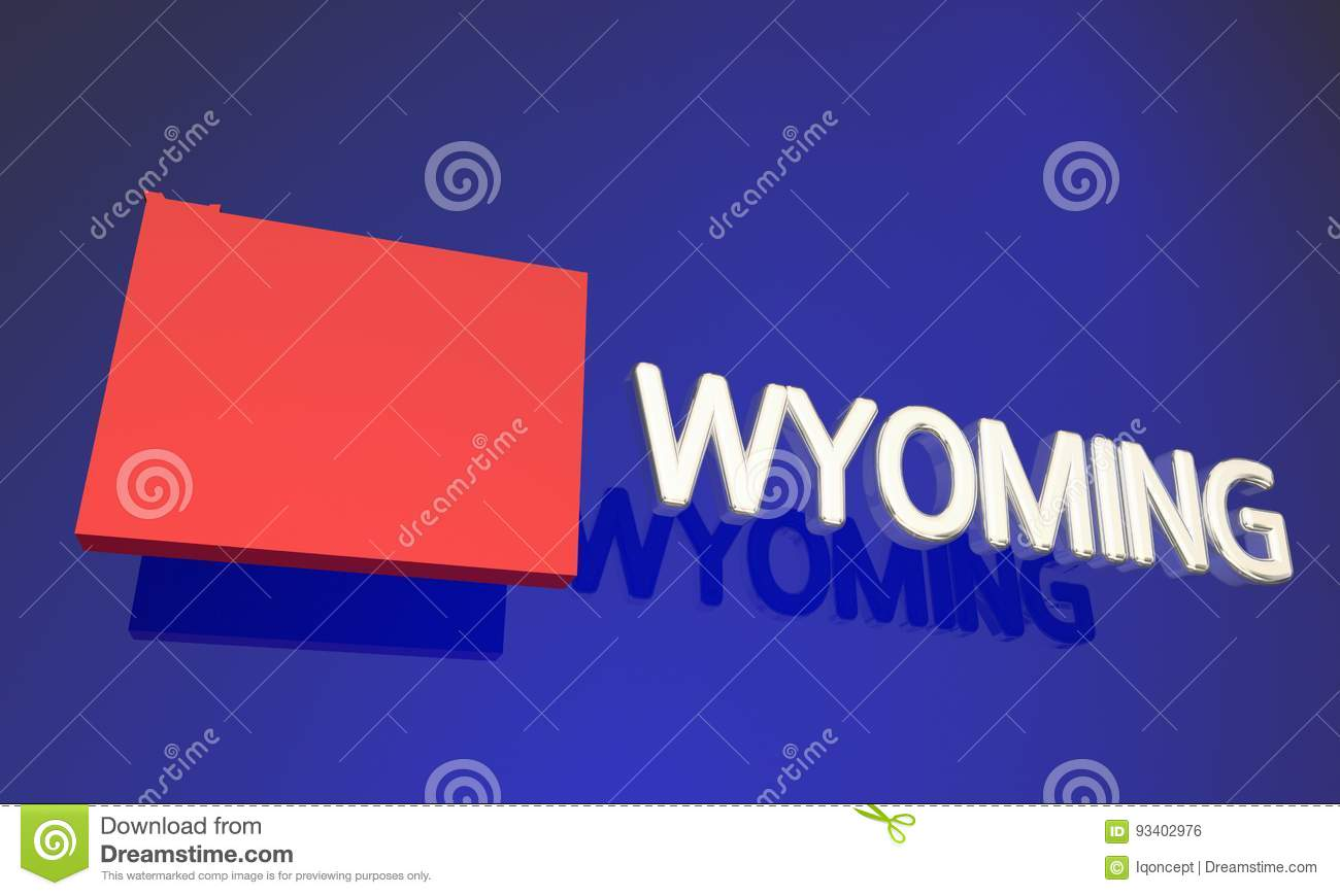 Wyoming WY Red State Map Name Stock Illustration - Illustration of ...