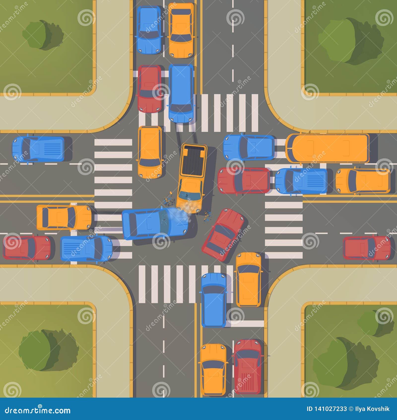 Wypadek drogowy między dwa samochodami z zmiętymi skrzydłami, zderzaki, łamający okno i międlenie,