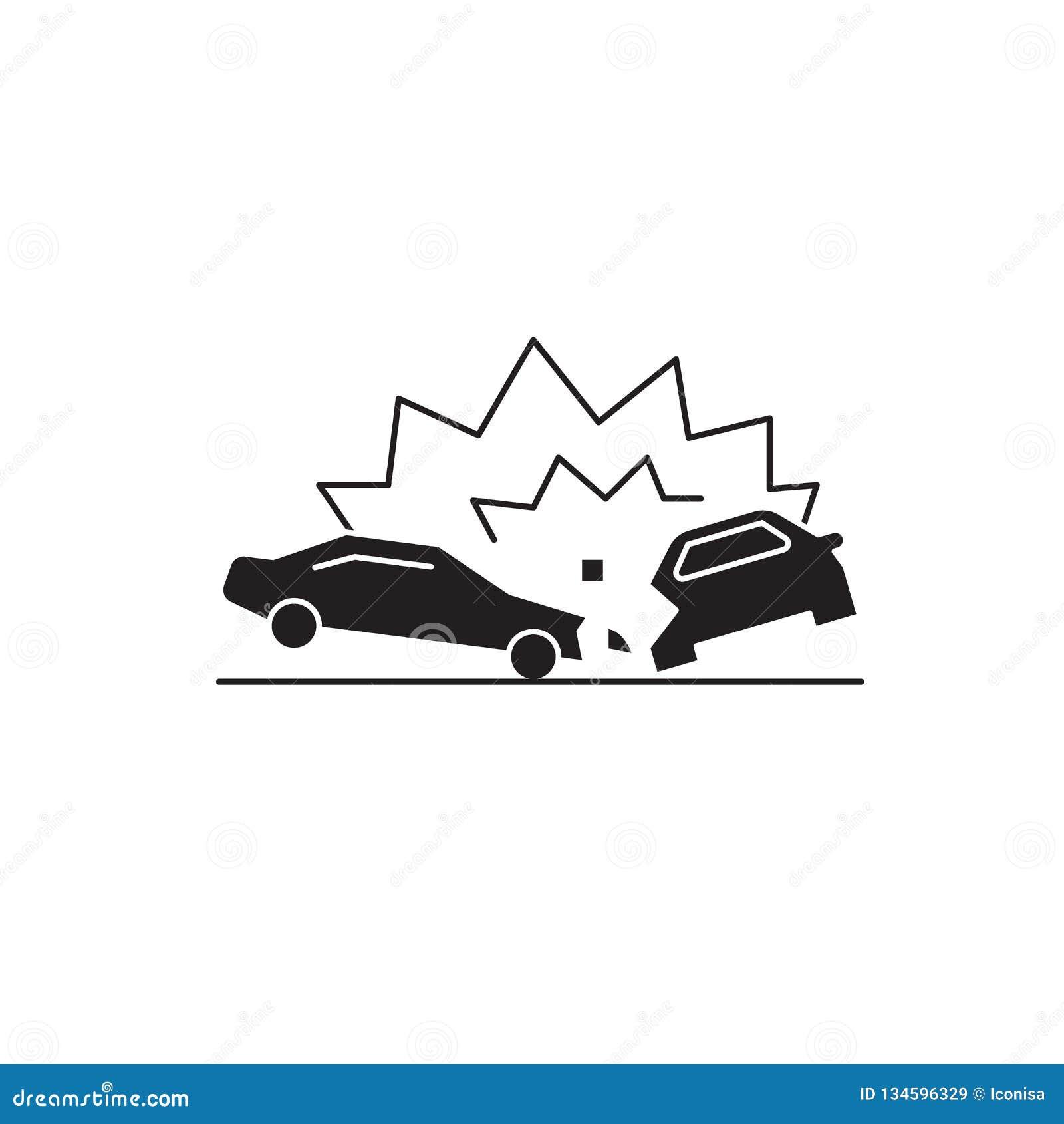 Wypadku samochodowego pojęcia czarna wektorowa ikona Wypadek samochodowy płaska ilustracja, znak