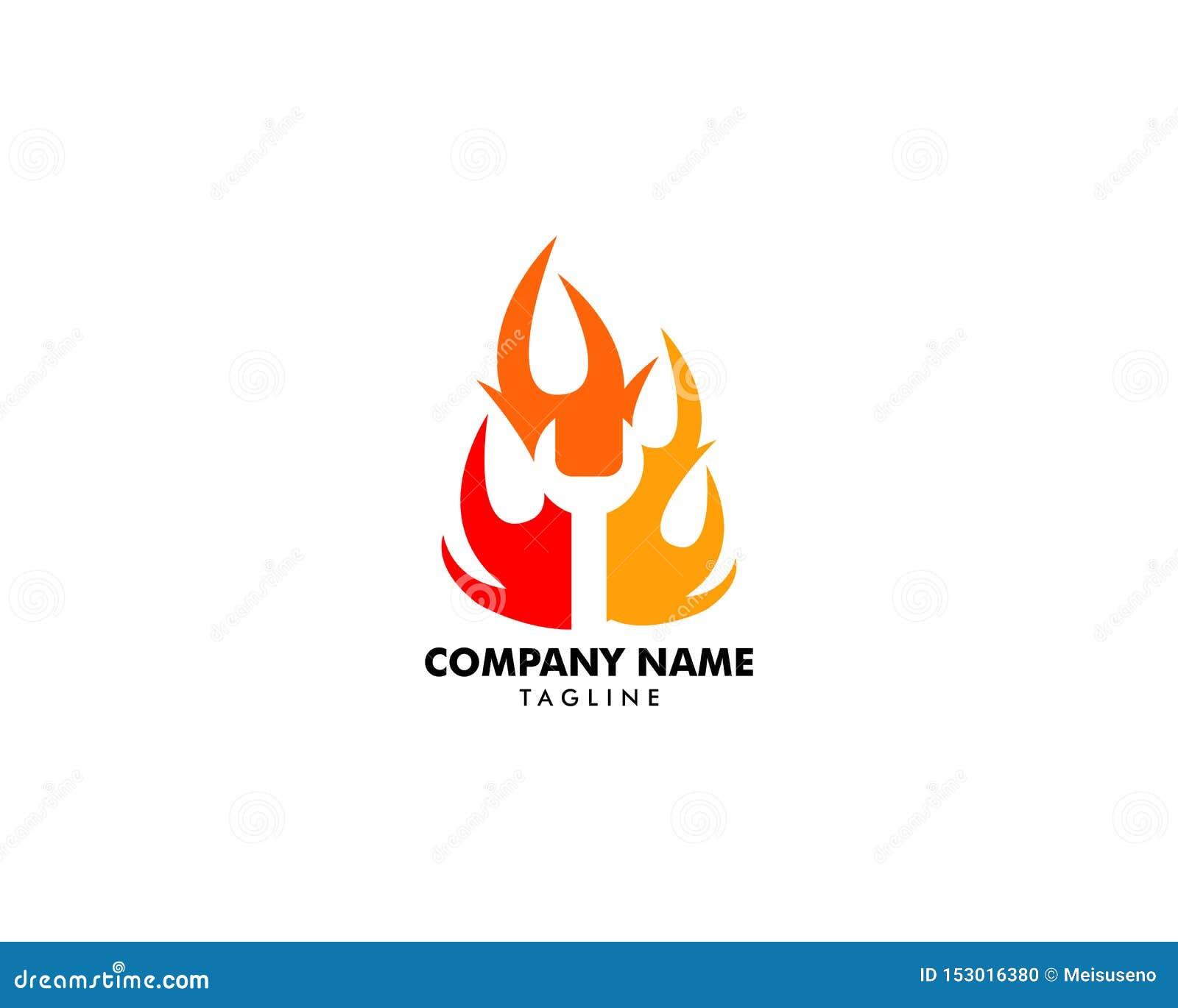 Wyrwanie w Pożarniczego płomienia logo projekta szablonu negatywu przestrzeni wektorowym stylu